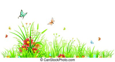 vert, fleurs, herbe