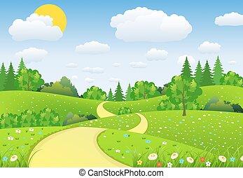 vert, fleurs, nuages, paysage, arbres