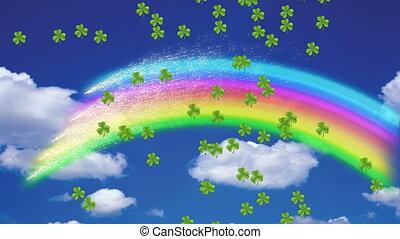 vert, flotter, animation, patrick's, trèfles, arc-en-ciel,...