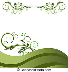 vert, flourishes, vigne, fond, vague