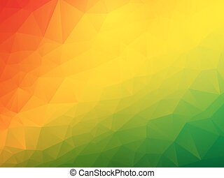 vert, fond jaune, rouges