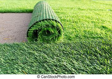 vert, football, herbe, artificiel, champ