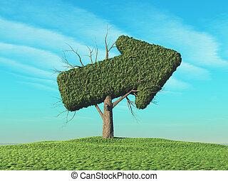 vert, forme, arbre, flèche