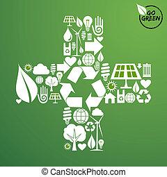 vert, forme, plus, fond, icônes