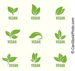 vert, formes, plants., icône, feuilles, vecteur, blanc, isolé, ensemble, arrière-plan., divers, arbres