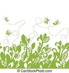 vert, frontière, seamless, feuillage