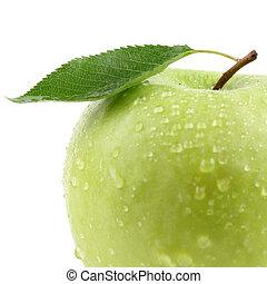 vert, fruit, feuille, pomme, isolé