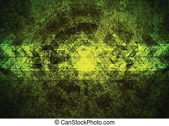 vert, géométrique, grunge, technologie, fond