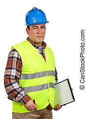 vert, gilet, ouvrier construction, sécurité