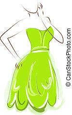 vert, girl, robe, esquisser