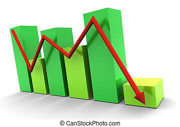 vert, graphique barre, bas