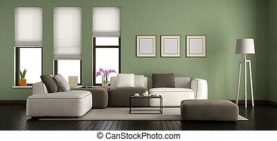 vert, habiter moderne, salle