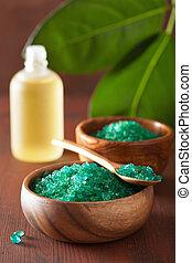 vert, herbier, sel, et, huiles essentielles, pour, sain, spa, bain