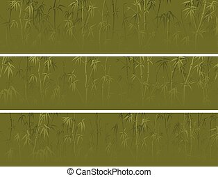 vert, horizontal, ensemble, bannière, bamboos.