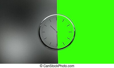 vert, horloge, transition, marques, charge, complet