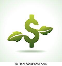 vert, icône, croissant, monnaie