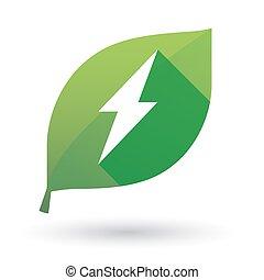 vert, icône, feuille, éclair