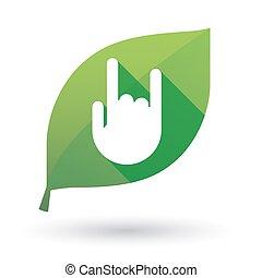 vert, icône, feuille, main