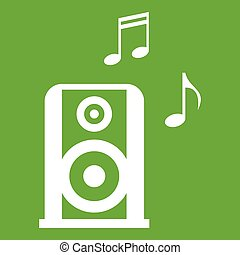 vert, icône, speacker, portable, musique