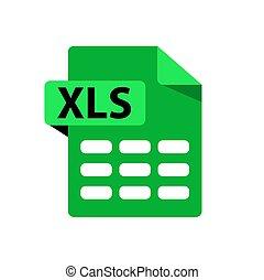 vert, icon., vecteur, icône, xls., extensions, fichier, ...