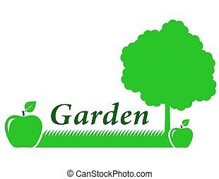 vert, jardin, fond, pomme