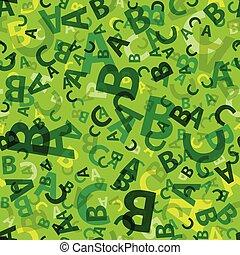 vert, lettre, seamless, abc, fond
