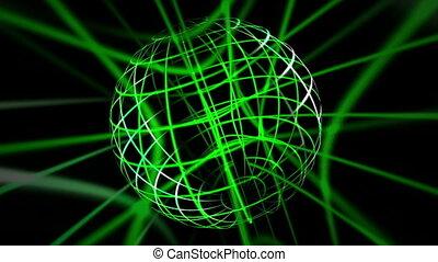 vert, lignes, sphère