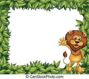 vert, lion, feuillu, frontière