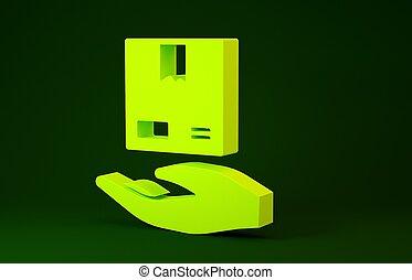 vert, livraison, courier., boîtes, minimalisme, render, ...