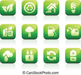 vert, lustré, icônes