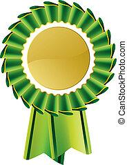 vert, médaille, rosette, récompense