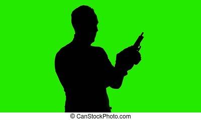 vert, magazine, silhouette, vidéo, handgun's, homme, fond, ...