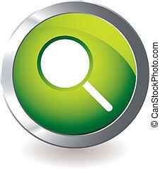 vert, magnifier, icône