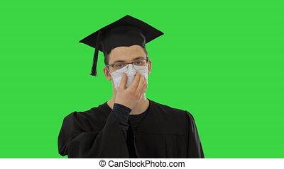 vert, marche, étudiant, écran, diplômé, chroma, masque, key., monde médical