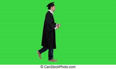 vert, marche, étudiant, écran, heureux, remise de diplomes, robe, chroma, baisers, key., diplôme, sien, mâle