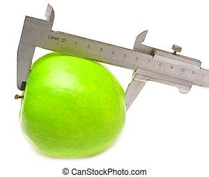 vert, mesuré, pomme