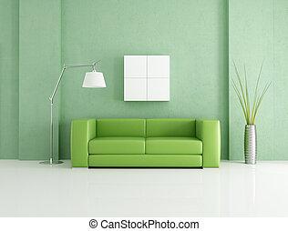 vert, moderne, intérieur