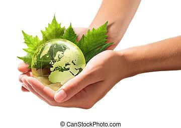 vert, mondiale, dans, les, mains, -, europe, -