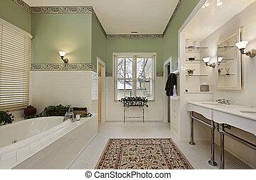 vert, murs, maître, bain