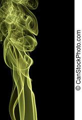 vert, noir, dos, fumée