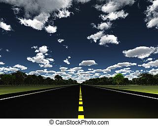 vert, nuages, paysage, route