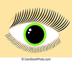 vert, oeil femme