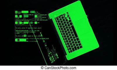 vert, ordinateur portable, code, au-dessus, données