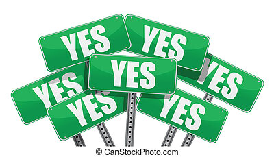 vert, oui, conception, illustration, signes