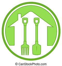 vert, outils jardinage, icône