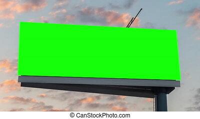 vert, panneau affichage, contre, nuages, en mouvement, ciel, timelapse, bleu, vide, coucher soleil, -