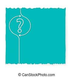 vert, papier, question, glissade, marque