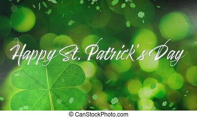 vert, patricks, animation, trèfles, mot, heureux, fond,...