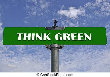 vert, penser, panneaux signalisations