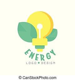 vert, plat, énergie électrique, business., feuilles, isolé, illustration, template., vecteur, conception, écologiquement, lumière, logo, blanc, amical, ampoule